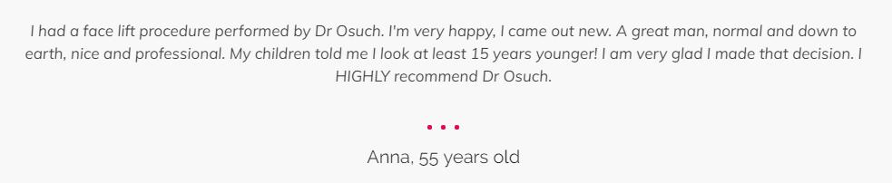 Lifting twarzy i szyi klinika doktor Osuch opinie